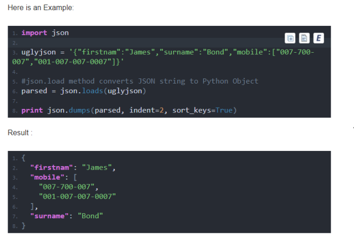 How to prettify json/dict string a print using python